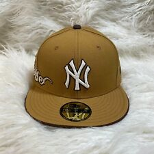 "NEW ERA 59FIFTY NY YANKEES FITTED HAT WHEAT NEW YORK ""NWT"" ENGLISH FONT"