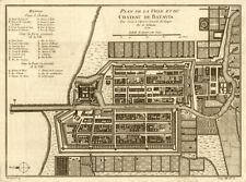 'Plan de la Ville et du Chateau de Batavia', now Jakarta. BELLIN 1750 old map