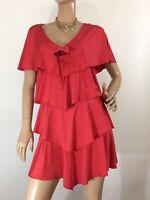 🌻  LEONA EDMISTON SIZE I (10 AU ) RED TIERED PARTY/COCKTAIL DRESS