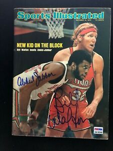 Kareem Abdul-Jabbar Bill Walton Signed Sports Illustrated 10/14/74 No Label  PSA
