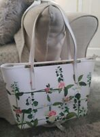 Ted Baker Large White Floral Genuine Leather Zipped Crosshatch Tote Bag FAB