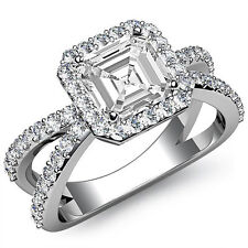Split Shank Asscher Diamond Unique Engagement Ring GIA I VS2 Platinum 950 1.75ct