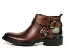 New Men's fashion Real leather Shoes dress Ankle boots black brown Strap Buckle