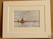 HAY BARGES AT MILL BEACH ON THE BLACKWATER ESSEX VINTAGE DOUBLE MOUNTED PRINT