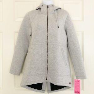 NWT Betsey Johnson Knit Bonded Jacket Anorak Hoodie Athleisure Grey Sz L MSRP$98