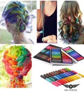 High Quality 24 Colours Temporary Hair Dye Pastels Chalk Kit Set Pink Purple Red