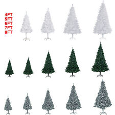 5ft 6ft 7ft 8ft artificial christmas tree wstand holiday season indoor 2 colors - Plastic Christmas Tree