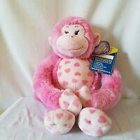 "Build A Bear Pink Plush Monkey Stuffed Animal Hugs For You Hearts 18"" NWT BABW"