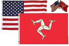Wholesale Combo Usa & Isle of Man Country 3x5 3'x5' Flag & Friendship Lapel Pin