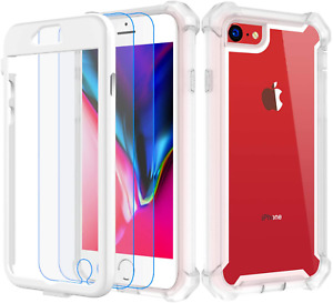 Clear Full Body Case for iPhone SE 2020, iPhone 7 & 8 with 2x Screen Protectors
