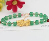 New 24K Yellow Gold 3D Pixiu Bead With 18K Gold Bead With Chrysoprase Bracelet