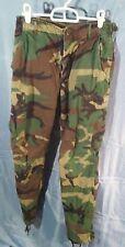 "Army Green Camouflage Cargo Pants Adjustable Waist Button Fly sz Waist 27-31"""