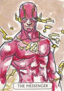DC COMICS JUSTICE LEAGUE Sketch Card by Alex Starling of Flash