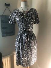 Whistles Mono Print Silk Summer Tea Dress With Tie Belt Size 8 Uk