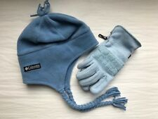 WOMENS COLUMBIA FLEECE HAT & GLOVES FOR SNOW SKI BLUE LOT OF 2 SET WINTER