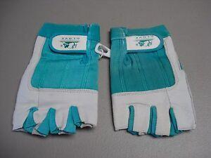NWOT Women's Fingerless Sport Gloves Size XL 1 Pair White/Teal #192G