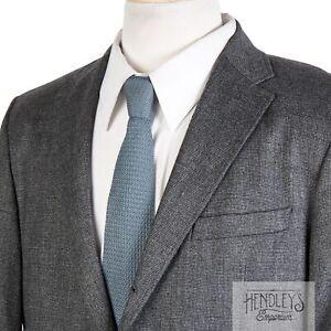 HUGO BOSS 3/2 Roll Sport Coat 40 R in Smoke Gray Mini-Check Stretch Wool Blend