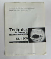 Vtg Technics by Panasonic Direct Drive Turntable SL-1500 Operating Instructions