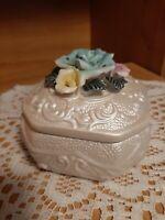 Vintage Style Ceramic Bisque Porcelain Square Shape Flowers Trinket Box Jewelry