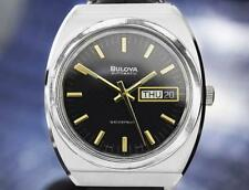 Bulova Automatic Stainless Steel Black Dial Vintage 1970s Mens Watch DN140