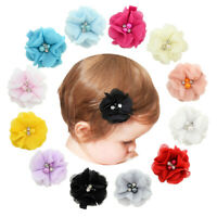 Baby Hair Chiffon Pearl Solid Flower Barrette Mini Bands Hair Clips Girls Clips