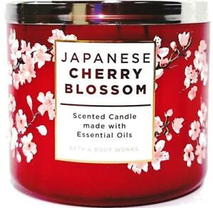 Bath & Body Works Japanese Cherry Blossom Red Colored Glass 3 Wick Jar Candle