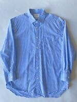 Billy Reid Grey and Blue Large Plaid Check Standard Fit Shirt Long Sleeve Italy