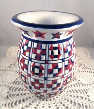 PartyLite Americana Ceramic Red White Blue Quilt Pattern Wax Tart Warmer Burner