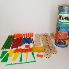Vintage Tinkertoy Little Designer Construction Set  No 124 Colorful 109 Pieces