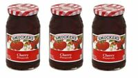 Smuckers Cherry Preserve 3 PACK 18 oz Fruit Jars Jam Spread Preserves Jelly NEW