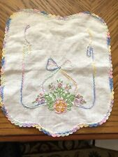 Vintage Handmade Beautiful Embroidered Floral Doiley