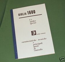 Alfa Romeo Giulia Spider Sprint 1600 TI manuale officina workshop manual