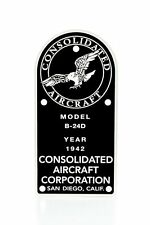 Consolidated B-24D Liberator, WW II, Aviation Data Plate  WW II Bomber  DPL-0107