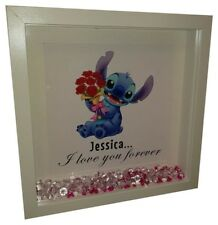 DISNEY STITCH Valentines Personalised Diamante Box Frame - Stitch Valentines