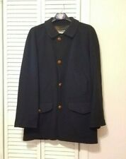 Black Wool and Cashmere Coat, Bullock & Jones with Leather Buttons Italy Xl