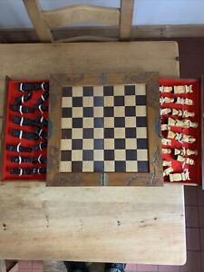 wooden chess set, Chinese, with wooden case , drawers and board
