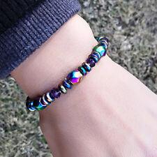 Unisex Rainbow Hematite Magnetic Natural Black Stone Healing Bead Bracelet
