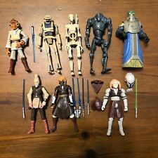"Star Wars Clone Wars Jedi Action Figures 3.75"" Lot W Lightsabers - Prequels"