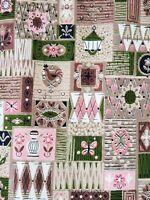 "Vtg 60s Mid Century Modern Farmhouse Cotton Fabric 3.4Yds x 52"" MCM Pink Green"
