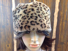 WOMEN'S FAUX FUR CHEETAH LEOPARD ANIMAL PRINT WINTER HAT SUPER SOFT
