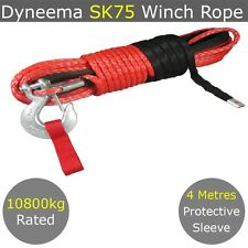 10MM X 30M Dyneema SK78 Winch Rope Hook Synthetic Car Recovery Cable Offroad 4WD