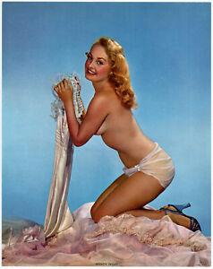 Fine Original 1950s Pin Up Litho Photograph Pretty Boudoir Blonde Nighty Night