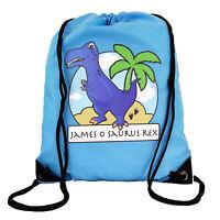 Personalised Blue T-Rex Drawstring Blue PE Bag Kids Swimming Gym Kit School
