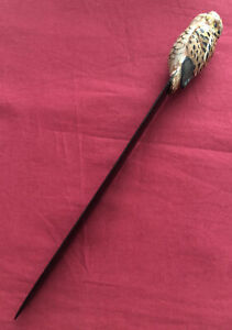 Lacquered Wooden Letter Opener With Owl Terminal