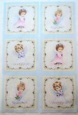 "Baby Girl Angel Cherub Fabric SIX Individual Blocks 6.75"" quilt square quilting"