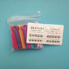 Dental Orthodontic Mini Metal Bracket Brace + Elastics Ligature Ties Bands Rings