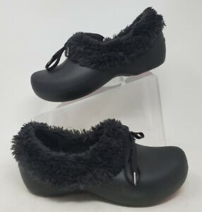 Crocs Gretel Womens Faux Fur Lined Clogs Shoes Rubber Black Slip On Size W 7