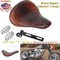 Brown Aligator Calabash Solo Seat Spring Bracket Kit For Harley Chopper Bobber