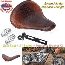 Brown Aligator Calabash Solo Seat Spring Bracket Kit For Harley Chopper Bobber