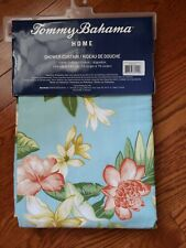 NIP Tommy Bahama Tropical Island Floral Hibiscus Blue Fabric Shower Curtain NEW
